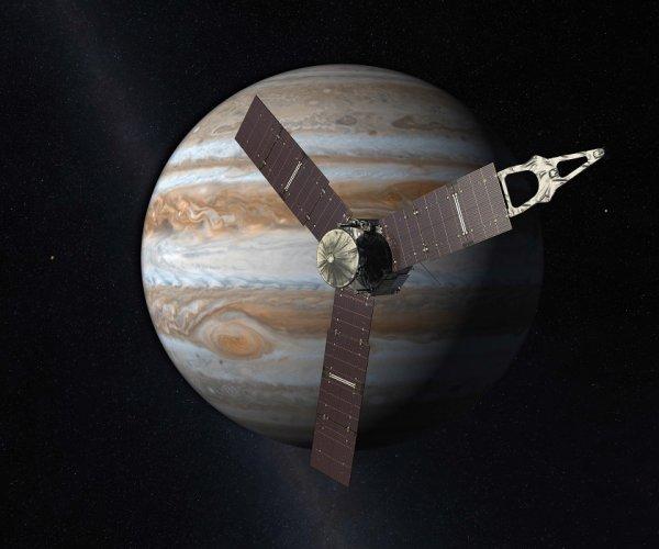 ESPACE INFO DIRECT : La sonde JUNO, en orbite autour de Jupiter, ne parvient pas à ouvrir ses soupapes correctement pour permettre le bon fonctionnement de son moteur. La mise à feu prévue le 19 octobre 2016, censée réduire son orbite de 53 jours à seulement 14 jours, est donc annulée. La Nasa préfère patienter jusqu'au 11 décembre 2016, prochain passage au plus près de la planète géante. Si le problème n'est pas résolu, Juno ne pourra pas mener à bien ses nombreuses expériences, et la mission sera un échec. (Sources NASA-C&E)