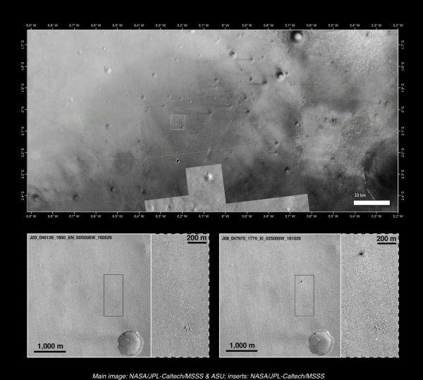 EXOMARS INFO DIRECT : 22 octobre 2016 Mission ExoMars : L'atterrisseur Schiaparelli s'est écrasé sur Mars ! RIP, Schiaparelli. L'atterrisseur de la mission européenne ExoMars, dont on était sans nouvelle, s'est malheureusement écrasé lors de sa descente, mercredi. Il « est arrivé à une vitesse beaucoup plus rapide que prévu à la surface de Mars », sans doute à cause d'un problème au niveau de son parachute, a expliqué Thierry Blancquaert, responsable de l'atterrisseur à l'ESA. Photo prise par la sonde américaine MRO de l'impact de l'atterrisseur Schiaparelli à la surface de Mars. (Sources NASA-MRO-ESA)
