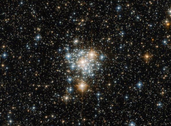 L'IMAGE DU JOUR : Le Toucan et le cluster, vue par HUBBLE. Il peut être célèbre pour avoir accueilli des vues spectaculaires telles que le Tucana galaxie naine et 47 Tucanae (heic1510), le deuxième plus brillants amas globulaire du ciel nocturne, mais la constellation australe de Tucana (Le Toucan) possède également une variété de beautés cosmiques méconnus. Une telle beauté est NGC 299, un amas d'étoiles ouvert situé dans le Petit Nuage de Magellan un peu moins de 200 000 années-lumière. Les amas ouverts sont des collections d'étoiles faiblement liés la gravité, qui se sont tous formés à partir du même nuage moléculaire massif de gaz et de poussière. À cause de cela, toutes les étoiles ont le même âge et la même composition, mais varient dans leur masse parce qu'ils se sont formé à différents moments au sein du nuage. Cette propriété unique assure non seulement une vue spectaculaire lorsqu'on regarde à travers un instrument tel que HUBBLE, mais il donne aux astronomes un laboratoire cosmique pour étudier la formation et l'évolution des étoiles, un processus qui est dépendant fortement de la masse des étoiles. (Sources ESA-HUBBLE-NASA)
