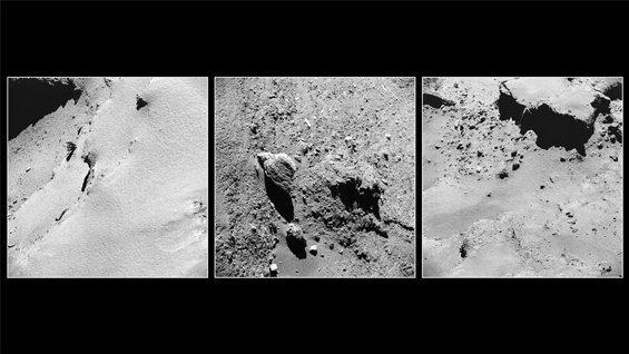 ROSETTA INFO DIRECT : LUNDI 14 NOVEMBRE 2016 ÉTUDE DE 3 IMAGES DE ROSETTA ! Au cours des dernières semaines de sa mission, la sonde ROSETTA de l'ESA s'est aventuré au plus près de la Comète 67P / Churyumov-Gerasimenko et elle s'y est posé sur la surface dans une descente audacieuse le 30 septembre 2016. Ce montage présente les trois images les plus proches du paysage prises par la caméra de navigation de Rosetta dans la première moitié de septembre. Aucune image de navigation n'a été prise lors de la descente finale. A gauche, le 8 septembre, est une partie du grand lobe de la comète, cette vue révèle les terrains couverts de poussière dans la partie inférieure droite du cadre, et en haut à gauche, où une partie de l'un des nombreux traits ronds présents dans cette région est visible. L'image a été prise à environ 2,6 km de la surface. Le cadre central est une vue détaillée de petits et grands rochers épars dans la région d'Anubis, également sur le grand lobe de la comète. L'image a été prise le 14 septembre, à environ 2,6 km de la surface. Sur la droite est une vue du 11 septembre, prise à environ 3,5 km de la comète, il révèle une terrasse couvert de poussière et de rochers. ROSETTA a été la première mission de rendez-vous avec une comète. Après sa plus proche approche du Soleil le 13 août 2015, la comète se déplace maintenant le long de la partie de son orbite la plus éloignée du Soleil, dans le Système Solaire extérieur, entre les orbites de Mars et de Jupiter. Aujourd'hui, elle se trouve à plus de 600 millions de km du Soleil et à plus de 740 millions de km de la Terre. (Sources ESA-CNES)