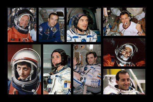 Hommage aux neufs spationautes français, alors que le dixième Thomas Pesquet est actuellement dans l'ISS (par ordre de haut en bas) : Jean-Loup Chrétien, Patrick Baudry, Jean-Pierre Haigneré, Michel Tognini, Jean-Jacques Favier, Claudie Haigneré, Léopold Eyharts, Jean-François Clervoy,et Philippe Perrin. Thomas Pesquet est donc le dixième Français à s'envoler dans l'espace, et le quatrième astronaute français à séjourner à bord de la Station Spatiale Internationale. Sa mission sera la première mission de six mois d'un astronaute français à bord l'ISS. (Sources CNES-ESA)