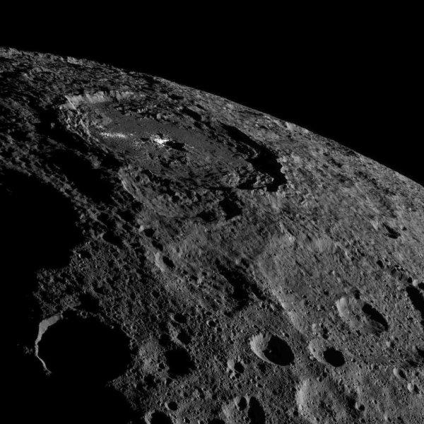 LA PHOTO DU JOUR : Sur Cérès, la planète naine la plus proche de la Terre, est le plus grand corps de la ceinture d'astéroïdes, la glace d'eau est partout, juste sous la surface. À première vue, cet astre sphérique de quelque 940 km de diamètre, relativement sombre et arborant des centaines de cratères d'impact, est de nature comparable aux objets plus petits et patatoïdes qui circulent dans cette région. À première vue seulement car, en y regardant de plus près, à travers des télescopes spatiaux comme Herschel et, surtout, la sonde Dawn qui la survole depuis plus d'un an et demi maintenant, il en est autrement. Les mesures réalisées avec l'instrument GRaND (Gamma Ray and Neutron Detector) jusqu'à quelques mètres de profondeur pour caractériser les abondances d'hydrogène, de fer et de potassium suggèrent que l'eau (H2O) est présente en quantité aux latitudes moyennes et hautes. L'eau, plus exactement la glace d'eau, est partout et, donc, pas seulement dans une poignée de cratères. Pour les chercheurs, la glace se serait séparée de la roche dès le début de l'histoire de Cérès. Il y aurait donc une couche riche en eau sous la surface depuis environ quatre milliards et demi d'années. Image inédite du cratère Occator (92 km de diamètre et 4 km de profondeur), connu pour les taches blanches qui le maculent. (Sources : Nasa, JPL-Caltech, UCLA, MPS, DLR, IDA)