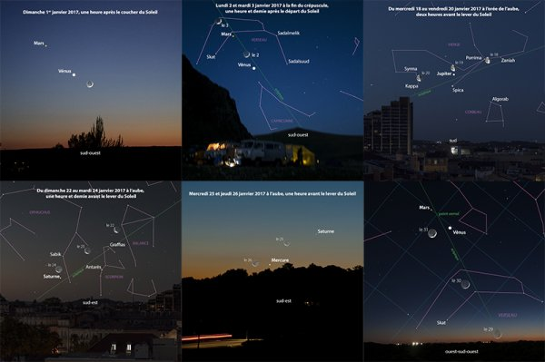 EN JANVIER, LES RENDEZ-VOUS DU CIEL A NE PAS MANQUER !! Lundi 2 et mardi 3 janvier 2017, un croissant lunaire rend visite à Vénus puis à Mars, au-dessus de l'horizon sud-ouest. Du mercredi 18 au vendredi 20 janvier 2017, deux heures avant le lever du Soleil, la Lune circule dans la constellation de la Vierge et s'aligne avec Jupiter et Spica. Du dimanche 22 au mardi 24 janvier 2017, avant le lever du Soleil, la Lune traverse la Balance, le Scorpion et Ophiuchus, en passant à proximité de Saturne. Mercredi 25 et jeudi 26 janvier 2017, une heure avant le lever du Soleil, servez-vous du mince croissant lunaire pour tenter de voir Mercure à l'½il nu. Du dimanche 29 au mardi 31 janvier 2017, en début de nuit, la lune s'élève en direction de la constellation des Poissons, où l'attendent Mars et Vénus. (Sources GC-LM-C&E)