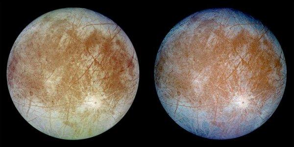 ASTRONOMIE INFO : LA NASA VEUT CHERCHER LA VIE SUR EUROPE UNE SATELLITE DE JUPITER ! La NASA prévoit d'envoyer une sonde tourner autour d'Europe, pour préparer, dans une douzaine d'années, l'arrivée d'un atterrisseur. Cette lune de Jupiter qui cache sous son épaisse banquise un immense océan d'eau salée passionne les exobiologistes. Ce corps glacé est un candidat prioritaire pour la recherche d'une vie ou au moins des conditions dans laquelle une vie proche de la nôtre pourrait apparaître et se développer. Une étude conceptuelle est en cours car la mission ne sera pas simple... Sur cette photo Europe, une lune de Jupiter, vue par la sonde Galileo de la Nasa en septembre 1996. Cette sonde est la seule à avoir survolé ce satellite à plusieurs reprises. L'image de gauche montre les couleurs qui s'approchent le plus de la réalité. (Source NASA-FS)