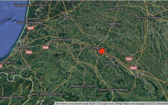 ALERTE TREMBLEMENT DE TERRE DANS LES PYRÉNÉES : Ce Lundi 20 Février 2017 à 18h03, un séisme s'est produit entre Orthez et Mourenx. Sa puissance a été évaluée de magnitude 3,5 sur l'échelle de Richter enregistré par le Réseau national de surveillance sismique (RéNaSS). La secousse a été localisée précisément à 7 kilomètres d'Orthez et 11 de Mourenx (latitude 43,44°, longitude -0,71°), communes les plus proches de l'épicentre, situé à 10 kilomètres de profondeur. (Sources BCSF-CEA-LDG-MRS-ACL)