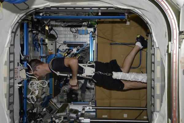 MISSION PROXIMA avec Thomas PESQUET : 7 Mars 2017. LE FOOTING DANS L'ESPACE c'est presque comme sur Terre finalement !! Sauf qu'ici on peut courir sur les murs. Mais le sport dans l'espace c'est vital : à force de flotter en impesanteur, les muscles et les os ne sont pas mis à contribution et deviennent de plus en plus faibles. À tel point que cela pourrait devenir dangereux lors du retour sur terre. Pour éviter cela, on donne au astronautes un programme strict de deux heures de sport par jour sur le tapis roulant, le vélo ou l'appareil de musculation ! (Sources ESA-TP)
