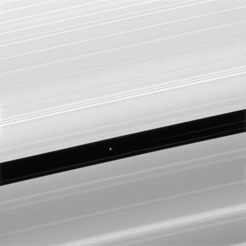 """ASTRONOMIE INFO : DE NOUVELLES IMAGES EXCEPTIONNELLES DE PAN, un des nombreux satellite de Saturne. La sonde américaine Cassini, qui frôle désormais les anneaux de Saturne à chacune de ses orbites a pris pour cible avec son petit télescope de 200 mm de diamètre, le satellite Pan. Pan est une sorte de gigantesque iceberg de 35 kilomètres de diamètre, et qui tourne à l'intérieur même des anneaux de Saturne ! En fait, il creuse dans l'immense disque de glace qui entoure la planète géante un sillon, baptisé par les astronomes """"division de Encke"""". Les astronomes américains ont profité du passage de la sonde à moins de 25 000 kilomètres de Pan pour le photographier enfin en détail... Et c'est une véritable « soucoupe volante » aux formes étonnantes qu'ils ont découvert. L'immense bourrelet qui entoure l'équateur du satellite serait dû, d'après les spécialistes, à l'interaction de Pan avec les anneaux dans lesquels il circule : les particules de glace des anneaux, tombant en pluie sur le satellite depuis des millions d'années, auraient formé ces incroyables congères. A l'appui de cette hypothèse, le satellite Atlas, qui lui aussi exhibe cette forme d'ovni étonnante. (Sources : NASA/JPL-Caltech/SSI/SB-SV)"""