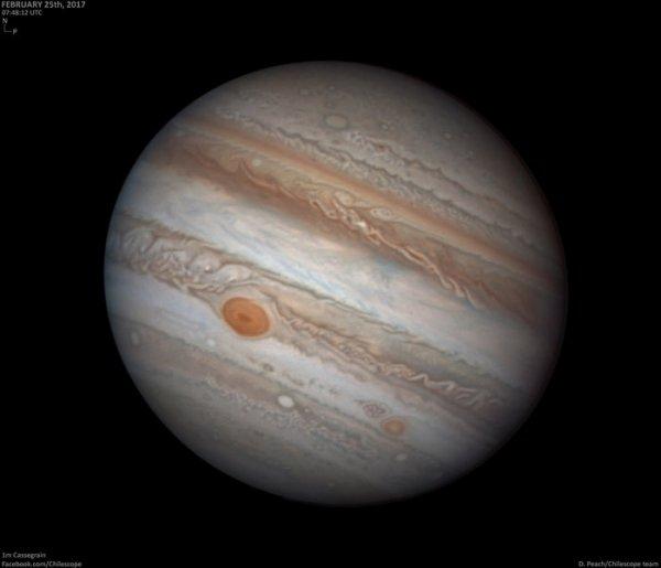 L'IMAGE DU JOUR : LA PLANÈTE GAZEUSE JUPITER La Terre est sur le point de passer entre le Soleil et Jupiter, en plaçant la géante face au soleil le 7 avril. Cet événement est appelé « opposition » par les astronomes, et se déroule à peu près tous les 13 mois. Jupiter est à proximité de la Terre à 666 millions de km. Jupiter brille plus que n'importe quelle étoile dans le ciel du soir. L'astronome Damian Peach a capturé cette vue magnifique à travers un télescope de Cassegrain de 1m de diamètre au Chili, le 25 février dernier. Il montre la « Grande tache rouge » de Jupiter (au centre gauche) ainsi que le « Red Spot Junior » beaucoup plus jeune (plus bas), plus connu sous le nom Oval BA. Les taches sont de grands cyclones visibles depuis plus de 300 ans. L'image met également en évidence l'atmosphère turbulente et à bande de Jupiter qui est criblée de formations de nuages chaotiques. (Sources ESA-DP)