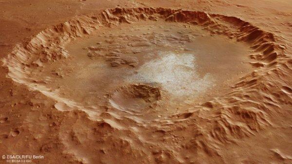 L'IMAGE DU JOUR : UN CRATÈRE DANS ERYTHRAEUM CHAOS SUR MARS ! Ce cratère de 70 km de large montre des caractéristiques internes intéressantes, y compris un plus petit cratère (premier plan), des dépôts lumineux exposés (premier plan/centre) et des terrains chaotiques (arrière-plan), ainsi que des parois cratères effondrées. La vue en perspective oblique a été générée en utilisant les données des canaux stéréo de la caméra haute résolution de la sonde MARS EXPRESS. La résolution au sol est de 15 à 17m/pixel. (Sources ESA-NASA-MARS EXPRESS)