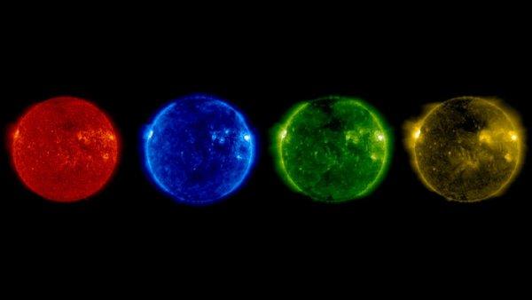 L'IMAGE DU JOUR : LE SOLEIL OBSERVE PAR SOHO LORS DU SOLSTICE D'ÉTÉ. Le satellite solaire SOHO de l'ESA-NASA regarde le Soleil depuis 1995, étudie son intérieur, surveille sa surface et son atmosphère orageuse, et comment le «vent solaire» souffle dans le système solaire. Le montage montre des images de la vue du Soleil par SOHO à différentes longueurs d'ondes ultraviolettes au début du matin du 21 juin, correspondant au matériau solaire à une gamme de températures. De gauche à droite, le matériau le plus brillant de chaque image correspond à des températures de 60 000 à 80 000ºC, 1 million, 1,5 million et 2 millions de degrés respectivement. Plus la température est élevée, plus vous regardez dans l'atmosphère solaire. Les zones les plus chaudes apparaissent plus brillantes, tandis que les régions plus sombres sont relativement plus fraîches. (Sources SOHO ESA et NASA)