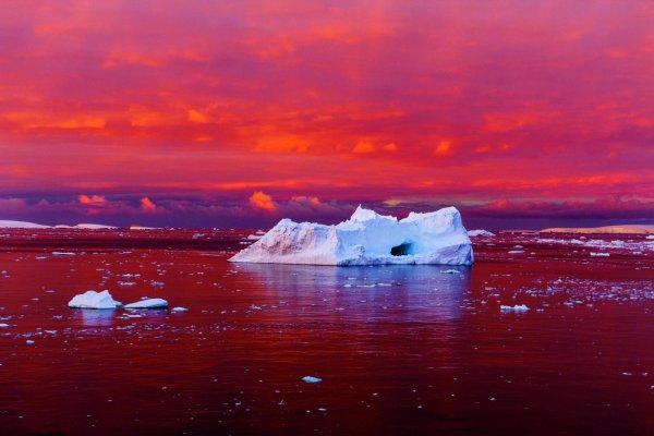 L'IMAGE DU JOUR : L'Antarctique est en train de fondre, et ce n'est que le début ! Une hausse du niveau des mers se profile et paraît inévitable. Une question reste en suspens : quelle sera son ampleur ? Le crépuscule nimbe de couleurs rouges le chenal Lemaire, à plus de 1000 km au sud de la Terre de Feu. La glace côtière de l'Antarctique se disloque avec le réchauffement de l'eau et de l'air ! Les scientifiques veillent à son chevet ! (Source NG)