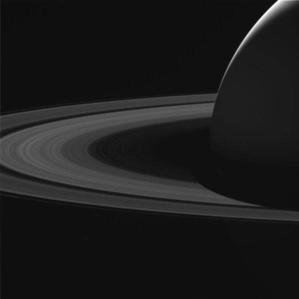 L'IMAGE DU JOUR : SATURNE ET SES ANNEAUX vu par la sonde Cassini qui explore le système Saturnien depuis 13 ans. L'image présentée ici a été captée le 7 juin, lors de l'approche de la huitième plongée. C'est une image brute prise avec la caméra grand angle et montre la planète, ses anneaux et une projection de l'ombre de Saturne sur les anneaux intérieurs. Chacune des 22 orbites elliptiques prend environ six jours et demi, et envoie le vaisseau spatial dans un espace de 2 400km à des vitesses de 121.000 à 12.000km/h. En plus de renvoyer des images étonnantes, les plongées permettent de recueillir des données uniques qui aideront les scientifiques à résoudre des mystères concernant la masse des anneaux de Saturne et le taux de rotation de la planète. Après la dernière orbite, le vaisseau spatial fera un survol lointain de Titan qui modifiera la trajectoire de Cassini une dernière fois, l'envoyant dans un plongeon contrôlé dans l'atmosphère de la planète pour conclure cette incroyable mission. (Sources NASA-ESA)