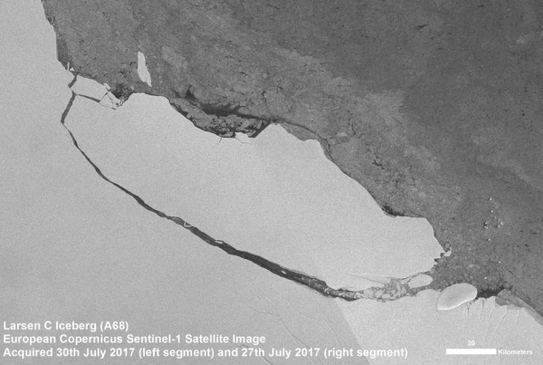 LA TERRE VUE DE L'ESPACE : Le 12 juillet 2017, la mission européenne de Copernic Sentinel-1 a renvoyé des images radar montrant qu'un iceberg de plus du double de la taille du Luxembourg avait rompu la péninsule antarctique. Depuis lors, ce grand iceberg tabulaire - connu sous le nom A68 - a dérivé à environ 5 km de la plate-forme de glace. Les images de Sentinel-1 montrent également qu'un groupe de plus de 11 icebergs plus petits s'est également formé, dont le plus grand est de plus de 13 km de long. Ces « berges » ont brisé l'iceberg géant et la banquise restante. L'image a été compilée à l'aide des acquisitions de Sentinel-1 le 27 juillet (à droite) et le 30 juillet (à gauche). (Source ESA)