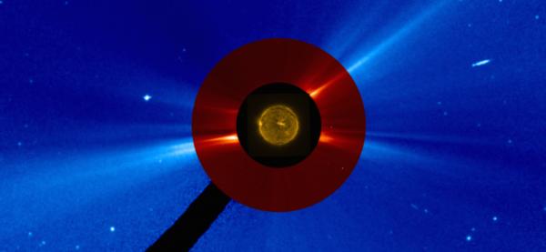 L'IMAGE DU JOUR : AVANT L'ECLIPSE ! Alors que les observateurs en Amérique du Nord vont apprécier une éclipse solaire totale aujourd'hui, la Lune glissant entre la Terre et le Soleil, les satellites Proba-2 et SOHO donnent un exemple ici, qui est composé de deux images SOHO et d'une image Proba-2 prise plus tôt ce matin. L'image centrale montre une image extrême-ultraviolette du disque solaire prise par Proba-2 à 05h39 GMT, tandis que la couronne et les caractéristiques atmosphériques étendues sont vues par SOHO dans l'image rouge de 2 à 6 rayons solaires, et au-delà en bleu (SOHO peut voir jusqu'à environ 32 rayons solaires) à 00:48 et 00:54 GMT, respectivement. La région circulaire noire correspond à un masque occultant pour couper la lumière directe du soleil qui obscurcit autrement les détails proches du Soleil - semblable à l'effet de la Lune dans une éclipse solaire totale. (Sources ESA-PROBA2-NASA-SOHO)