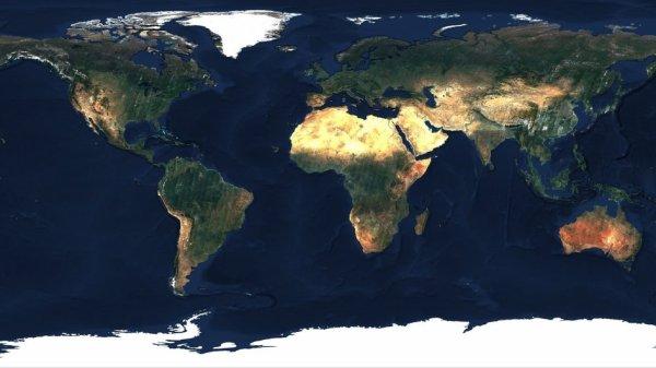 LA TERRE VUE DE L'ESPACE : LE MONDE ! Constitution automatique de plusieurs images du satellite Sentinel-2, de la société autrichienne EOX nous donne une superbe vue dégagée de la Terre, sans nuages et sans ouragans !! Pensons à protéger notre planète, nous n'en n'avons qu'une ! (Source image : ESA-Copernic Sentinel)