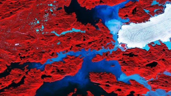 LA TERRE VUE DE L'ESPACE : GLACIER NORDENSKIOLD, GROENLAND. Le satellite Copernic Sentinel-2A nous emmène sur les îles déchiquetées le long de la côte ouest du Groenland dans cette image de fausse couleur. Couvrant plus de 2.000.000 km², le Groenland est la plus grande île du monde et abrite la deuxième plus grande couche de glace après l'Antarctique. Mais ces couches de glace sont sensibles aux changements dans notre climat, et la hausse des températures les fait fondre plus rapidement. Les scientifiques utilisent des satellites d'observation de la Terre pour suivre la perte de glace. Entre 2011 et 2014, le Groenland a perdu environ 1000 milliards de tonnes de glace. Cela correspond à une contribution de 0,75mm à l'augmentation globale du niveau de la mer chaque année. Sur le côté droit de cette image, le Glacier Nordenskiold est l'un des nombreux glaciers qui vident la couche de glace du Groenland. La végétation semble rouge dans cette image faussement colorée, car la terre ici est couverte par les graminées et les plantes à basse altitude. Les tourbillons de bleu clair dans l'eau sont des sédiments fins suspendus produits par l'abrasion des glaciers frottant contre la roche, appelée «lait de glacier». (Sources ESA-Copernic Sentinel)