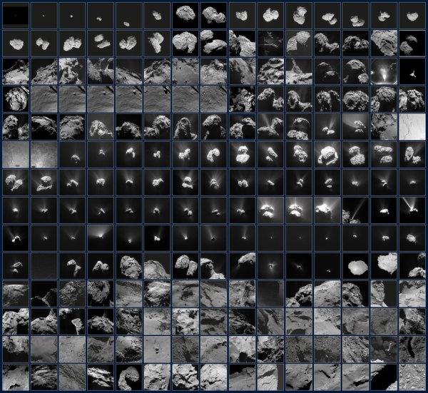 ASTRONOMIE INFO : 210 IMAGES REFLÉTANT LA VISION DE LA SONDE ROSETTA SUR SA COMÈTE ! Vision en constante évolution de la comète 67P/Churyumov-Gerasimenko par la sonde ROSETTA entre juillet 2014 et septembre 2016. La séquence commence dans le mois précédant l'arrivée de Rosetta le 6 août 2014, alors que la comète était à peine plus grande de quelques pixels dans le champ de vision. Soudainement, la forme curieuse a été révélée à moins de 10km. L'atterrissage de Philae est présenté avec les images «d'adieu» prises par les deux engins spatiaux l'une de l'autre peu de temps après la séparation, et par Philae alors qu'elle se rapprochait de la surface lors de son premier point d'atterrissage. Une image prise au site d'atterrissage final est également affichée. Les images suivantes, prises par Rosetta, reflètent la distance variable de la comète ainsi que la montée en puissance de la comète et tombent dans l'activité pendant qu'ils orbitaient vers le Soleil. Puis, en raison de l'augmentation de la poussière dans l'environnement local, Rosetta a dû maintenir une distance plus sûre et mener des observations scientifiques de loin, mais cela a également donné une vue impressionnante sur l'activité de la comète, y compris les jets et les événements explosifs. Une fois que l'activité a commencé à diminuer, Rosetta pouvait se rapprocher et conduire la science plus près du noyau, y compris la capture de plus d'images à haute résolution de la surface et la recherche de changements après cette période active. Finalement, alors que la comète est retournée au système solaire extérieur plus froid, la puissance solaire disponible pour exploiter Rosetta est tombée. La mission s'est conclue avec Rosetta faisant sa propre descente spectaculaire à la surface le 30 septembre 2016. (Sources ESA-NASA-ROSETTA)