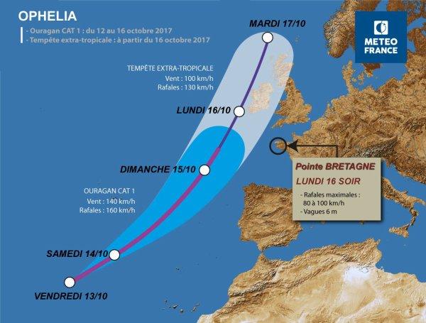 LES IMAGES DU JOUR : L'OURAGAN OPHELIA SE DÉPLACE VERS L'EUROPE ! Le satellite Copernic Sentinel-3A a prise cette image le 11 octobre 2017, lorsque l'ouragan Ophelia était à environ 1 300 km au sud-ouest des îles des Açores et à environ 2 000 km au large de la côte africaine. Initialement classée comme tempête tropicale, elle a été transformée en ouragan. Le National Hurricane Center des États-Unis a déclaré qu'Ophelia pourrait devenir encore plus fort dans les prochains jours. La tempête se déplace vers le nord-est, menaçant de frapper la pointe nord-ouest de l'Espagne avant de se diriger vers la Grande-Bretagne (Sources ESA-NOAA-METEOFRANCE)