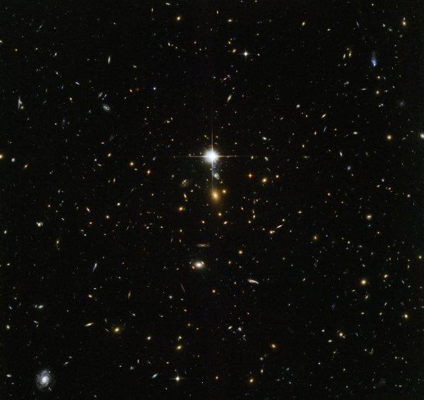 L'IMAGE DU JOUR : ARCHÉOLOGIE COSMIQUE ! Cette image du télescope spatial HUBBLE de la NASA est remplie de galaxies. Chaque particule rougeoyante est une galaxie différente, sauf le flash lumineux au milieu de l'image qui est en fait une étoile se trouvant dans notre propre galaxie. Au centre de l'image se trouve quelque chose de particulièrement intéressant, le centre de l'énorme amas de galaxies appelé WHL J24.3324-8.477, incluant la galaxie la plus brillante. L'Univers contient des structures à différentes échelles, les planètes se rassemblent autour des étoiles, les étoiles se rassemblent en galaxies, les galaxies se rassemblent en groupes et les groupes de galaxies se rassemblent en groupes. Les amas de galaxies contiennent des centaines à des milliers de galaxies liées ensemble par gravité. La matière noire et l'énergie noire jouent un rôle clé dans la formation et l'évolution de ces amas, aussi l'étude de grappes de galaxies massives peut-elle aider les scientifiques à percer les mystères de ces phénomènes insaisissables. (Sources NASA-HUBBLE-ESA)