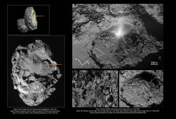 L'IMAGE & L'INFO ASTRO DU JOUR : UN PANACHE DE POUSSIÈRE DE COMÈTE 67P/CHURYUMOV-GERASIMENKO, VU PAR LA CAMERA GRAND ANGLE OSIRIS SUR LE VAISSEAU SPATIAL ROSETTA DE L'ESA LE 3 JUILLET 2016. L'ombre du panache est projetée à travers le bassin, dans la région d'Imhotep. Ce panache était particulièrement étudié d'un point de vue scientifique. En plus d'observer le site du panache et le panache lui-même, la trajectoire de Rosetta a traversé le matériau éjecté, permettant aux instruments de recueillir des mesures in situ précieuses. L'analyse de ces données indique qu'une source d'énergie subsuperficielle encore indéterminée a contribué à alimenter le panache ! (Sources ESA-ROSETTA)