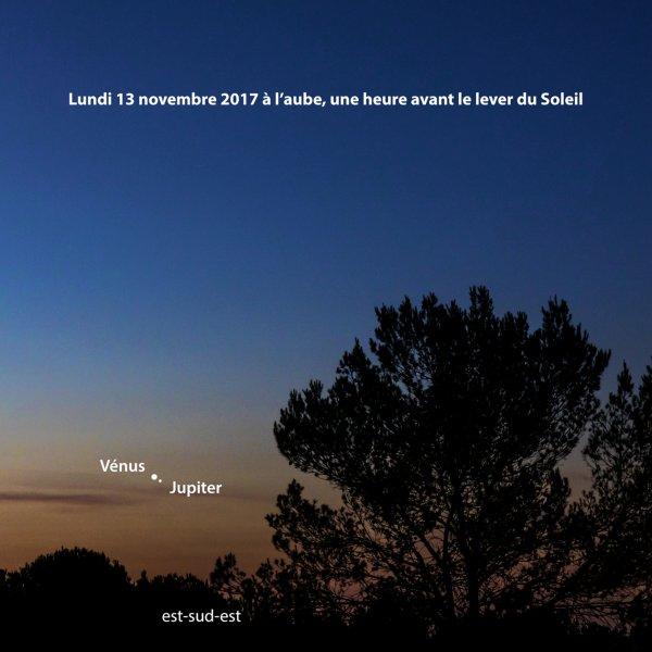 L'OBSERVATION ASTRO : VENUS ET JUPITER EN FORMATION SERRÉE CE LUNDI 13 NOVEMBRE ! À l'horizon est-sud-est, au dessus du Pic du Jer pour les Lourdais, et à l'aube, une heure avant le lever du Soleil, vous ne pouvez pas manquer l'éclat du couple VENUS-JUPITER. Les deux planètes les plus brillantes du Système solaire se rapprochent depuis plusieurs jours et elles se frôleront ce lundi 13 novembre. Ce rapprochement, en astronomie est une CONJONCTION, n'est qu'apparent bien évidemment puisque ces deux astres ne sont pas à la même distance de nous – Jupiter est actuellement près de quatre fois plus éloignée que Vénus, mais à l'½il nu, aux jumelles ou avec une lunette, ce voisinage matinal est vraiment splendide.