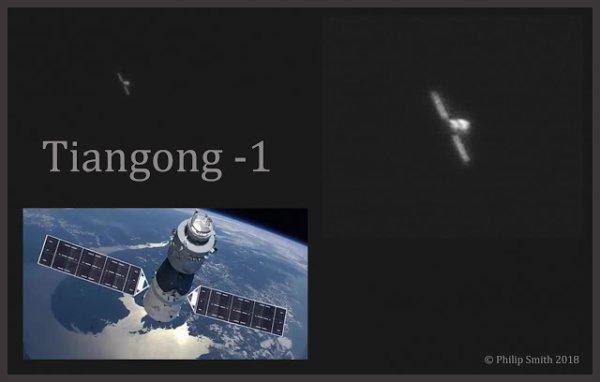 UNE IMAGE DE LA STATION SPATIALE CHINOISE TIANGONG-1 Laissée à l'abandon en raison d'une perte des communications en 2016, elle devrait se désintégrer dans l'atmosphère terrestre entre février et mai 2018 ! Le 20 janvier 2018, Philip Smith, un astronome amateur s'est lancé le défi de photographier Tiangong-1 et est parvenu à pointer son télescope en direction de la station lors de son passage. Une telle image demande une bonne mise en conditions, notamment s'assurer que les réglages de la caméra sont corrects et que le suivi motorisé est bien en phase avec la vitesse propre de la station spatiale... Le résultat est impressionnant lorsque l'on sait que la station mesure 10,4 mètres de longueur et qu'elle était située à 316 km. Du côté du matériel, le photographe a utilisé un télescope de 355 cm de diamètre C14 Edge HD avec une lentille de barlow x2 et une caméra CCD du type ZWO ASI174. (Sources AS-PS)