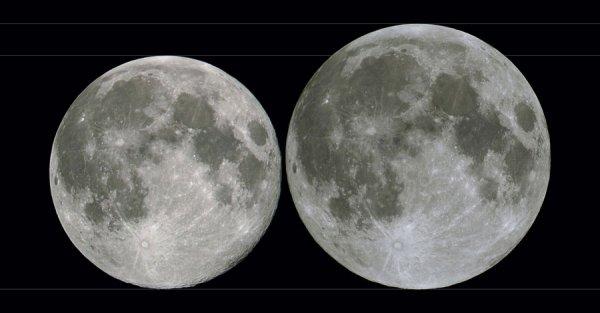 L'IMAGE & L'INFO ASTRO DU JOUR : LA PLEINE LUNE DU MERCREDI 31 JANVIER 2018. Le Soleil, la Terre et la Lune s'aligneront pour produire une éclipse totale de Lune, mais invisible en Europe ! Par coïncidence, notre satellite naturel sera voisin de son périgée, c'est-à-dire du point de son orbite le plus proche de la Terre. De plus, il s'agira de la seconde Pleine Lune du mois. Trois ingrédients qui n'ont rien de spectaculaire, sauf de nous faire lever les yeux dans le ciel pour observer cette deuxième Pleine Lune du mois! La Lune se trouve en moyenne à 384 000km. Mercredi elle sera à 359 308km. Sur l'image ci-dessous, côte à côte, ces deux Pleines Lunes se démarqueraient. Mais en réalité (il n'y a qu'une seule Lune dans le ciel), ce faible écart n'est pas discernable à l'½il nu.