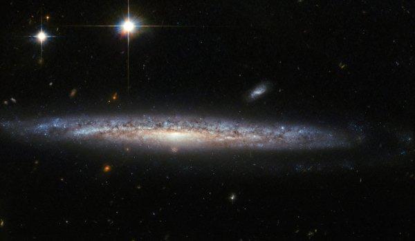 L'IMAGE & L'INFO ASTRO DU JOUR : LE CURIEUX CAS DE SUPERNOVÆ RICHE EN CALCIUM ! Cette image du télescope spatial HUBBLE, montre la galaxie spirale NGC 5714, à environ 130 millions d'années-lumière dans la constellation du Bouvier. NGC 5714 est classé comme une galaxie spirale Sc, mais ses bras spiraux sont presque impossibles à voir, car NGC 1787 se présente à un angle presque parfaitement latéral. Découverte par William Herschel en 1787, NGC 5714 a été l'hôte d'un événement fascinant et rare en 2003. Une légère supernova est apparue à environ 8.000 années-lumière sous le renflement central de NGC 5714. Les Supernovas sont les énormes explosions violentes des étoiles mourantes. C'était particulièrement intéressant parce que son spectre présentait de fortes signatures de calcium. Les supernovæ riches en calcium sont rares et donc d'un grand intérêt. Les astronomes ont encore du mal à expliquer ces explosions particulières car leur existence présente un défi tant pour l'observation que pour la théorie. En particulier, leur apparition en dehors des galaxies, leur luminosité plus faible par rapport aux autres supernovæ, et leur évolution rapide sont encore des questions ouvertes aux chercheurs. (Sources NASA-HUBBLE-ESA)
