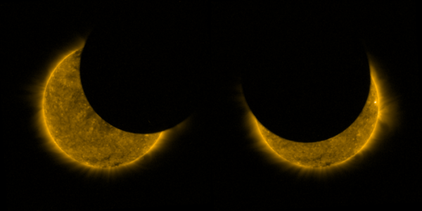 L'IMAGE & L'INFO ASTRO DU JOUR : Éclipse solaire partielle du 11 août vue de l'espace ! Grâce à une bizarrerie de notre cosmos, la distance moyenne de la Lune par rapport à la Terre lui permet d'avoir la même taille dans le ciel que le Soleil. De temps en temps, la Lune glisse directement entre la Terre et le Soleil, si bien qu'elle semble couvrir complètement notre étoile, bloquant temporairement sa lumière et créant une éclipse solaire totale pour ceux qui empruntent l'étroit passage de l'ombre de la Lune. Mais parfois l'alignement est tel que la Lune ne couvre que partiellement le disque du Soleil. Une telle éclipse partielle s'est produite le 11 août pour des observateurs situés principalement en Europe du Nord et de l'Est, dans le nord de l'Amérique du Nord et dans certaines régions du nord de l'Asie. Le satellite Proba-2 de l'ESA qui regarde le Soleil, orbite la Terre environ 14,5 fois par jour et, avec son changement constant d'angle de vision, il a plongé deux fois dans l'ombre de la Lune lors de cette éclipse - la première (à gauche) a été capturée à 08h40 et la seconde (à droite) à 10h32. Les images ont été prises par la caméra SWAP du satellite, qui fonctionne à des longueurs d'onde ultraviolettes extrêmes pour capter l'atmosphère turbulente chaude du Soleil - la couronne - à des températures d'environ un million de degrés, visibles en arrière-plan. (Source ESA-PROBE)