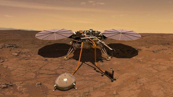 L'IMAGE & L'INFO ASTRO DU JOUR : EN DIRECT DE LA PLANÈTE MARS, l'atterrisseur de la NASA InSight vient de se poser juste avant 21h (heure de Paris). InSight sera la première mission martienne dédiée à l'étude de la structure interne de la planète, y compris la détection des secousses sismiques. Vue d'artiste de l'atterrisseur InSight de la NASA et la plaine d'Elysium ou s'est posé la sonde. (Source ESA-CNES-NASA)