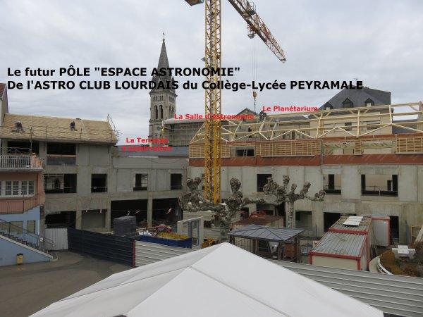 LE POINT SUR LES TRAVAUX du nouveau collège Saint Joseph Peyramale, photos du 07 Décembre 2018, avec le futur pôle « ESPACE ASTRONOMIE » de l'ASTRO CLUB LOURDAIS du Collège-Lycée PEYRAMALE. Ce nouveau pôle comprend le premier PLANÉTARIUM dans un établissement scolaire sous une coupole de plus de 5 mètres de diamètre, une salle d'astronomie et une terrasse d'observation.
