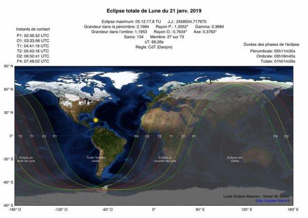 L'IMAGE & L'INFO ASTRO DU JOUR : UNE ECLIPSE TOTALE DE LUNE A NE PAS MANQUER. Le 21 janvier aura lieu la seule et unique éclipse totale de la Lune de 2019. Un évènement céleste magnifique qui estompera la Lune durant quelques heures jusqu'à la rendre sanguine. C'est vers la fin de nuit, ce 21 janvier, que vous pourrez admirer cette éclipse totale de Lune, le teint de notre satellite naturel va s'assombrir et rougir à mesure qu'il entre puis ressort de l'ombre projetée de la Terre. La totalité ne durera cette fois que 62 minutes (contre 103 minutes pour celle de l'été dernier). Quand le phénomène sera visible, la Lune sera alors à seulement 357.715 kilomètres de la Terre, autrement dit beaucoup plus proche de nous qu'en juillet 2018 où elle était à 404.295 kilomètres. Aussi, dans cette configuration, beaucoup ne manquent pas de qualifier la Pleine Lune du périgée de superlune ! Les Américains pourront suivre l'évènement quasiment du début à la fin, à la différence des Européens et des Africains qui, eux, ne pourront en voir qu'une partie (une grosse partie quand même). Pour bien en profiter, il faudra donc se lever dans la nuit. C'est à 3h36 que le phénomène débutera. Notre satellite mettra alors un premier « pied » dans la pénombre de la Terre. À partir de ce moment, la Pleine Lune éclatante, haut perchée dans le ciel (à la limite entre le Cancer et les Gémeaux), va blêmir progressivement. Il sera 4h33 quand elle s'enfoncera progressivement dans l'ombre, lui donnant une coloration plus ou moins sanguine, selon la teneur des aérosols qui seront présents à ce moment-là dans l'atmosphère, quand les rayons du Soleil la traverseront. Le milieu de la totalité se déroulera à 6h12. Et quand elle sortira de l'ombre de la Terre, à 7h50, la plupart des étoiles seront déjà « éteintes » par les lueurs de l'aube. Puis la Lune en déclin commencera à s'enfoncer sous l'horizon et c'est à 8h48 que l'éclipse prendra fin. Dans les Hautes Pyrénées, la Lune aura déjà disparu sous l'horiz