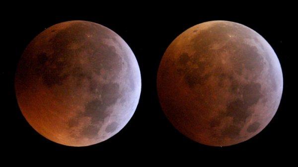 L'IMAGE & L'INFO ASTRO DU JOUR : OCCULTATION PAR LA LUNE DE DEUX ÉTOILES DE LA CONSTELLATION DU CANCER, imagées respectivement à 21h56 et à 17h21, le 21 janvier lors d'une éclipse lunaire. L'image de gauche montre l'étoile HIP 39869, située à 5930 années-lumière, peu de temps avant de disparaître derrière le disque de la Lune; et l'image de droite montre l'étoile HIP 39749, située à 309 années-lumière de distance, telle qu'elle émerge de derrière la Lune après son occultation. Ces images ont été prises au Centre européen d'astronomie spatiale de l'ESA, près de Madrid (Espagne), avec un télescope newtonien CG8 à ouverture de 20 cm et une caméra Canon EOS550D. (Source ESA)