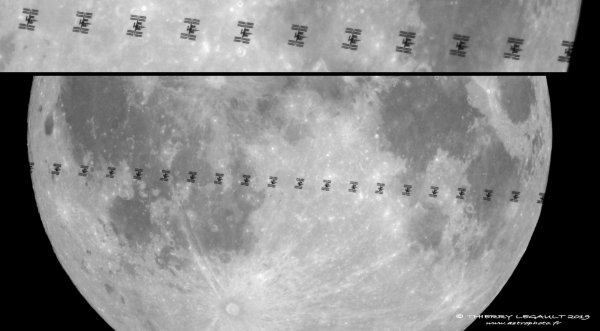 L'IMAGE & L'INFO ASTRO DU JOUR : PASSAGE DE LA STATION SPATIALE INTERNATIONALE DEVANT LA LUNE ! Par Thierry Legault : « 2 heures avant de photographier l'éclipse totale du 21 janvier sur un des ponts de Paris, je suis passé au sud de la région parisienne pour filmer le transit de l'ISS au Sony 7S monté sur le C14. L'ISS filait à 28000 km/h et le transit a duré seulement 0,6 seconde ! » JUSTE SUBLIME !