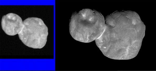 L'IMAGE & L'INFO ASTRO DU JOUR : La NASA vient de rendre publique une image d'Ultima Thulé qui a été retravaillée de façon à la rendre plus nette et montrer des détails jusqu'alors insoupçonnés ! La sonde New Horizons a photographié Ultima Thulé par un passage unique à 3.500 kilomètres du centre de l'astéroïde, et à environ 6,64 milliards de kilomètres du Soleil et s'en éloigne de 50.500 kilomètres par heure ! Avec une résolution originale de 135 mètres par pixel, c'est-à-dire que chaque détail visible mesure environ 400 mètres, cette image revisitée montre de nouveaux détails topographiques que les scientifiques ne soupçonnaient pas. De nombreuses petites fosses allant jusqu'à environ 700 mètres de diamètre sont maintenant visibles. Sur la plus petite des deux parties de l'objet, on estime à environ 7 kilomètres le diamètre de la grande structure circulaire. Les scientifiques ne sont pas encore en mesure de dire si ces fosses (dépressions) sont des cratères d'impact ou des structures géologiques résultant d'autres processus, tels que des effondrements, ou provoqués par des éjectas de matériaux volatils mis à l'air libre. Les deux parties d'Ultima Thulé présentent aussi de nombreux motifs lumineux et sombres, dont l'origine est à ce jour inconnu. L'un des plus étonnants est certainement ce collier lumineux qui semble marquer une frontière entre les deux blocs rocheux. Étonnement, elles ne sont pas identiques. L'une a des structures et des dispositifs géologiques que l'autre n'a pas. (Sources NASA-SwRI-JHUAPL)
