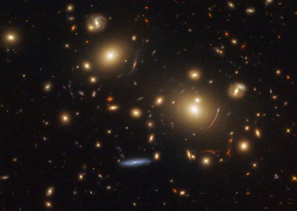 L'IMAGE & L'INFO ASTRO DU JOUR : REGARDER DANS LE PASSÉ ! Cette image présente un système de lentille gravitationnelle actuellement utilisées, grâce au télescope spatial HUBBLE de la NASA pour étudier la formation et l'évolution des étoiles dans des galaxies lointaines. Les lentilles gravitationnelles peuvent aider les astronomes à étudier des objets qui seraient autrement trop pâles ou trop petits pour être vus. Lorsqu'un objet massif, tel qu'un amas massif de galaxies, comme on le voit ici, déforme l'espace avec son immense champ gravitationnel, il fait voyager la lumière provenant de galaxies plus lointaines sur des chemins altérés et déformés. Il amplifie également la lumière, ce qui nous permet d'observer et d'étudier sa source. Dans cette image, nous voyons deux galaxies elliptiques dominantes près du centre de l'image. La gravité de l'amas de galaxies qui abrite ces galaxies agit en tant que lentille gravitationnelle, nous permettant de voir les galaxies plus lointaines derrière elles. Nous voyons les effets de cette lentille sous forme de bandes de lumière courbes entourant les deux grandes galaxies. (Sources NASA-HUBBLE-ESA)