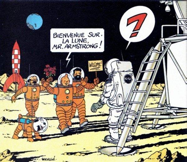 L'IMAGE HUMORISTIQUE & L'INFO ASTRO DU JOUR ! 20 Juillet 1969-20 Juillet 2019 : ON A MARCHE SUR LA LUNE ! Dessin offert par Hergé à Neil Armstrong !