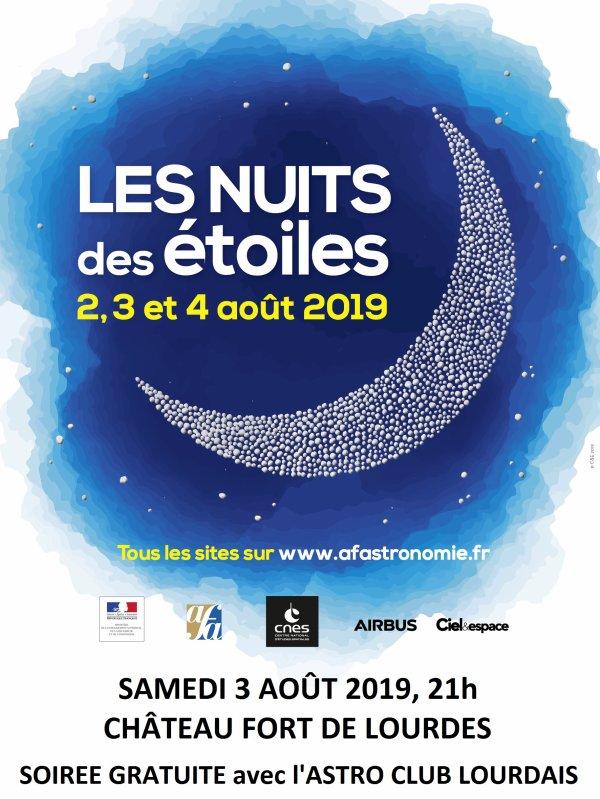 NUIT DES ÉTOILES avec l'ASTRO CLUB LOURDAIS c'est ce soir au Château Fort de Lourdes, et c'est Soirée gratuit et ludique !