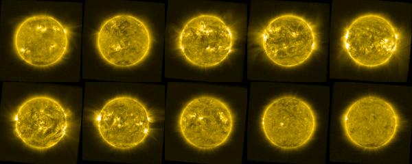 L'IMAGE & L'INFO ASTRO DU JOUR : 10 ANS D'OBSERVATIONS DU SOLEIL AVEC LE SATELLITE PROBA-2 DE L'ESA. Cette image montre 10 vues différentes du Soleil capturées tout au long de la vie de PROBA-2, traitées pour mettre en évidence l'atmosphère solaire étendue, la partie de l'atmosphère visible autour du disque circulaire principal de l'étoile. L'activité du Soleil a un cycle d'environ 11 ans, caractérisé par la présence et la force de phénomènes tels que les éjections de masse coronale, les «trous coronaux» sombres et les «régions actives» lumineuses. Ces images montrent un instantané du soleil en début de chaque année de 2009 à 2019. Cette mosaïque montre donc parfaitement la variabilité de l'atmosphère solaire de manière détaillée, démontrant comment ce cycle affecte le soleil. Le Soleil débute dans une phase de faible activité (minimum solaire en haut à gauche) en 2010; entre dans une phase d'activité croissante et montre ensuite l'activité la plus élevée de 2014 (maximum solaire en haut à droite). Il se calme lentement pour entrer dans une phase de faible activité en 2019 (autre minimum en bas à droite). (Sources ESA-PROBA-2)