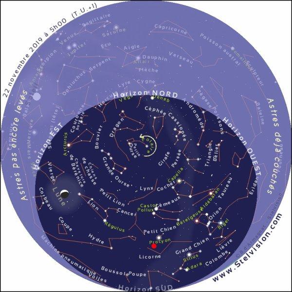 L'IMAGE & L'INFO ASTRO DU JOUR : UNE INTENSE PLUIE D'ÉTOILES FILANTES dans la nuit du jeudi 21 au vendredi 22 novembre. Pendant moins d'une heure, centrée sur 5h50min en France, des dizaines, voire des centaines d'étoiles filantes pourraient rayonner autour de la constellation de la Licorne, non loin de l'étoile Procyon du Petit Chien, c'est-à-dire au-dessus de l'horizon sud-ouest. (Sources GC-FS)