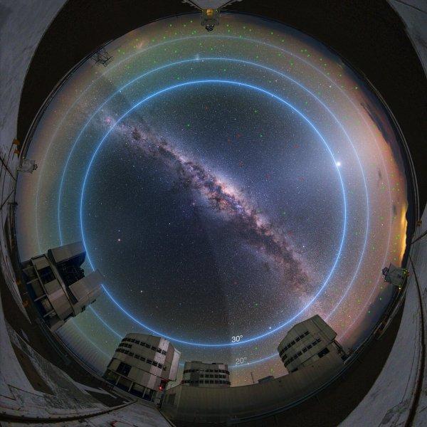 L'IMAGE & L'INFO ASTRO DU JOUR : Une nouvelle étude de l'ESO évalue l'impact des constellations de satellites sur les observations astronomiques ! La majorité des satellites des constellations prévues passeront sous 30° d'élévation ! Deux astronomes de l'Observatoire Austral Européen (ESO), qui pilote notamment le Very Large Telescope au Chili, ont quantifié les nuisances de Starlink et les autres futures constellations de satellites sur les observations des grands télescopes. Selon leurs calculs, la présence de 26.000 nouveaux satellites en orbite basse se traduira par un impact « modéré » sur les observations de ses fleurons que sont le VLT et le futur ELT. Essentiellement parce que ces instruments observent sur des zones très étroites du ciel. Cependant les télescopes utilisés pour effectuer de grands relevés célestes, comme par exemple l'observatoire Vera C. Rubin (ex-LSST), seront en revanche très fortement pénalisés. Selon les heures et les périodes de l'année, 30 à 50 % de leurs poses seront « sérieusement affectées ». Et pour cause : à une latitude moyenne, jusqu'à 1.600 satellites seront présents dans le ciel ! (Source ESO France)