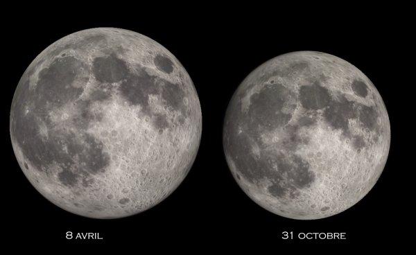 CONFINEMENT, RÊVONS D'ESPACE ET OBSERVONS : La super-Lune de 2020. Pour une fois, elle est réellement intéressante depuis hier. De quoi s'agit-il ? Tout simplement d'une Pleine Lune survenant lors d'un périgée très favorable, c'est-à-dire l'instant où notre satellite naturel passe au plus près de la Terre, à 356.908km. Cela lui confère un diamètre apparent plus gros de 14% par rapport à la Pleine Lune du 30 octobre 2020, qui surviendra à une distance sensiblement plus élevée : 406.392km. Cet écart peut sembler important, mais en réalité, il ne vous sera pas possible de comparer côte à côte dans le ciel les Lune des deux dates, du coup il est quasiment impossible à l'½il nu d'apprécier cette différence. Vous pouvez cependant observer la Lune ce soir et les jours suivants. Restez bien chez vous, et prenez soin de vous et de vos proches.
