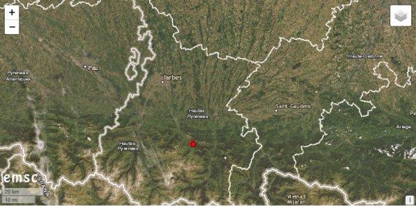 ALERTE TREMBLEMENT DE TERRE DANS LES PYRÉNÉES : Deux tremblements de terre se sont produits tôt ce mercredi matin sur le département des Hautes-Pyrénées. Le premier séisme est survenu peu avant 6 heures. D'une magnitude de 2,4 sur l'échelle de Richter, avec un épicentre localisé à 5 km de profondeur, à 12 km de Bagnères-de-Bigorre et à 32 km au Sud de Tarbes, sur la commune de Sainte-Marie de Campan. Le second tremblement de terre a été enregistré par les sismographes à 8h17, plus à l'Ouest, à proximité de Lourdes. Une réplique de magnitude moindre (1,6). À noter que dans la nuit, la terre a également tremblé à proximité de Rodez dans l'Aveyron. Un séisme de magnitude 2,5 sur l'échelle de Richter qui là encore n'a pas fait de dégâts. (Sources CSEM-EMSC-BCSF-MRS-ACL)