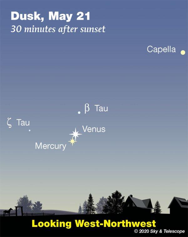 RÊVONS D'ESPACE ET OBSERVONS : Il se passe toujours quelque chose dans le ciel. Il suffit de savoir où et quand regarder ! VENUS ET MERCURE sont conjoints dans le ciel de ce début de soirée à l'ouest-nord-ouest, comme indiqué sur l'image. Vénus surpasse 30 fois Mercure, ce que l'illustration ne transmet pas. Bien qu'ils se rapprochent, Mercure est de l'autre côté du Soleil tandis que Vénus est maintenant devant. Donc Mercure ce soir est 3,5 fois plus éloigné. C'est à 9,1 minutes-lumière de nous, par rapport à la distance de Vénus de 2,6 minutes-lumière !