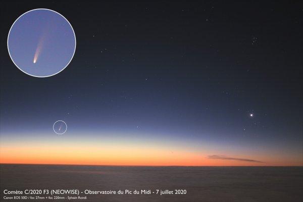 RÊVONS D'ESPACE ET OBSERVONS : Il se passe toujours quelque chose dans le ciel. Il suffit de savoir où et quand regarder ! LA COMÈTE C/2020 F3 NEOWISE, bien visible à l'½il nu malgré sa position basse sur l'horizon Nord Est. Voici une photo prise ce matin, par Sylvain Rondi depuis le Pic du Midi.