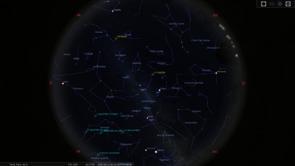 RÊVONS D'ESPACE ET OBSERVONS : Il se passe toujours quelque chose dans le ciel. Il suffit de savoir où et quand regarder ! Dans la nuit du 12 au 13 aout, l'essaim des Perséides sera à son maximum. L'occasion de se poser dans l'herbe et d'admirer ces poussières microscopiques brûler dans l'atmosphère, laissée la dernière fois en 1992 par la comète 109P/Swift-Tuttle. En heurtant les hautes couches de l'atmosphère, ces poussières donnent naissance au bref phénomène lumineux que l'on a coutume d'appeler une étoile filante. Ces étoiles filantes aoûtiennes semblant rayonner autour de la constellation de Persée, on les appelle les Perséides. Jupiter, Saturne serons également de la partie, et Mars en fin de nuit.
