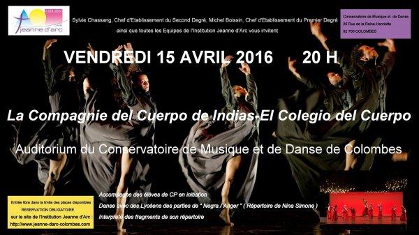 Invitation 15 avril 2016 - La Compagnie del cuerpo de Cartagena (Colombie)