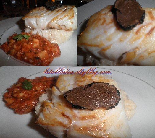 Cabillaud poelé sur son rizotto aux truffes .