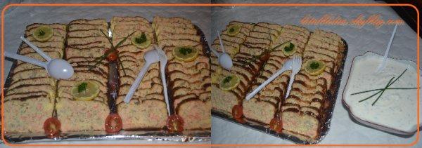Toujours dans le buffet :Terrine aux deux  saumons et sa sauce