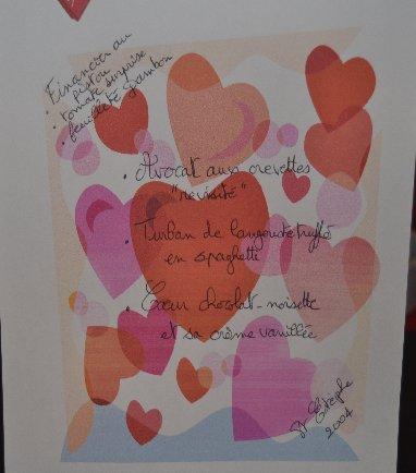 Saint Valentin 2013: Le menu